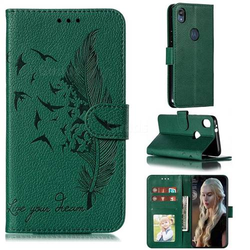 Intricate Embossing Lychee Feather Bird Leather Wallet Case for Motorola Moto E6 - Green