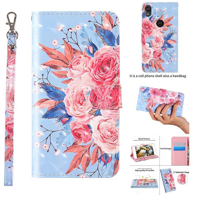 Rose Flower 3D Painted Leather Wallet Case for Motorola Moto E6