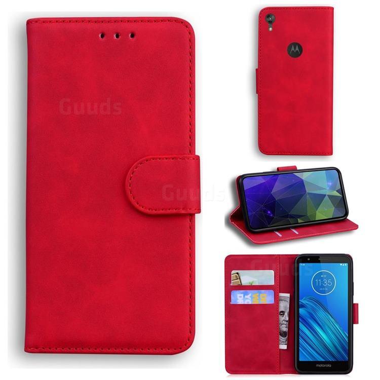 Retro Classic Skin Feel Leather Wallet Phone Case for Motorola Moto E6 - Red