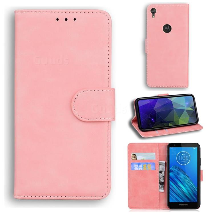 Retro Classic Skin Feel Leather Wallet Phone Case for Motorola Moto E6 - Pink