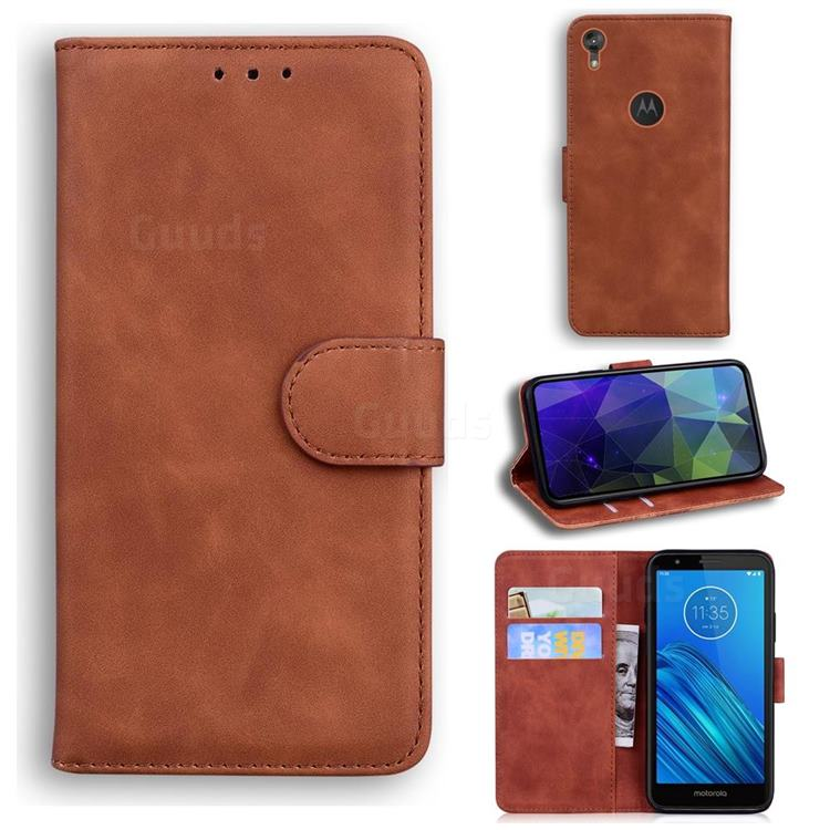 Retro Classic Skin Feel Leather Wallet Phone Case for Motorola Moto E6 - Brown