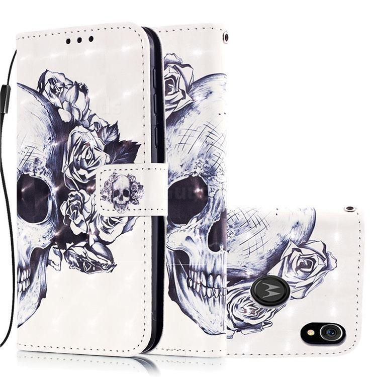 Skull Flower 3D Painted Leather Wallet Case for Motorola Moto E6