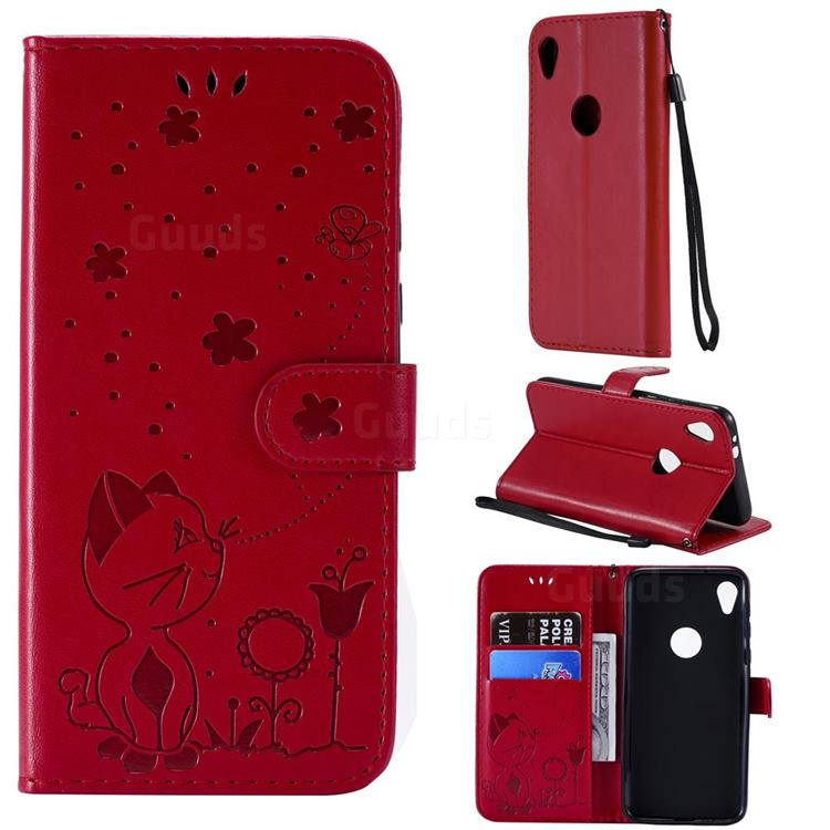 Embossing Bee and Cat Leather Wallet Case for Motorola Moto E6 - Red
