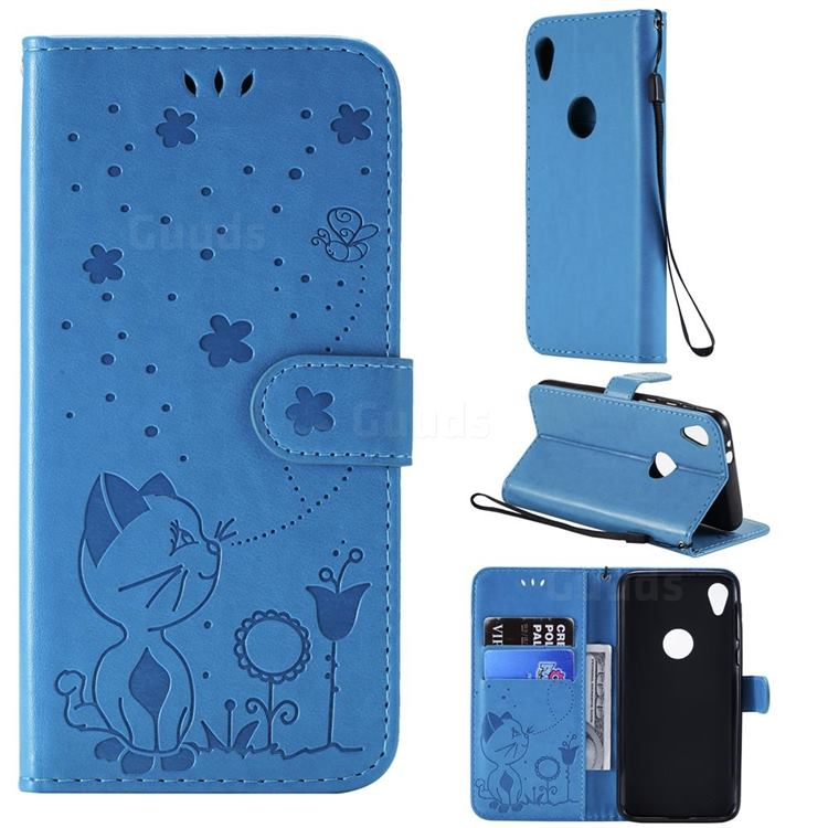Embossing Bee and Cat Leather Wallet Case for Motorola Moto E6 - Blue
