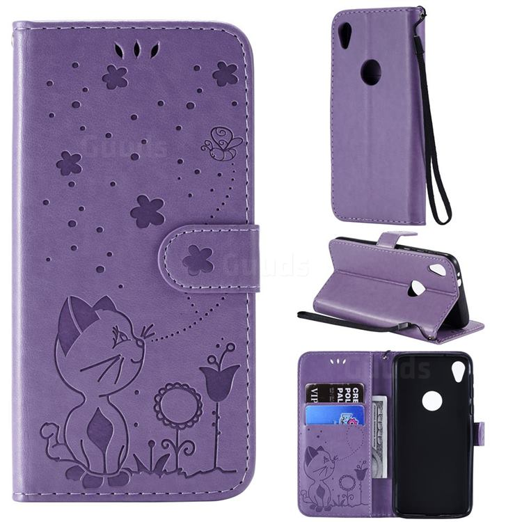 Embossing Bee and Cat Leather Wallet Case for Motorola Moto E6 - Purple