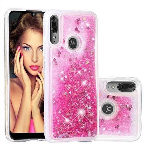 Dynamic Liquid Glitter Quicksand Sequins TPU Phone Case for Motorola Moto E6 Plus - Rose