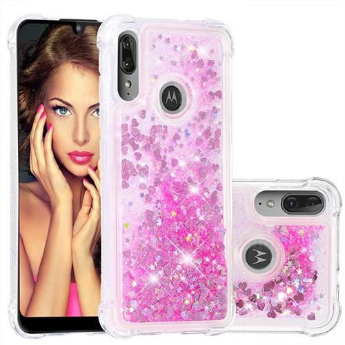 Dynamic Liquid Glitter Sand Quicksand TPU Case for Motorola Moto E6 Plus - Pink Love Heart