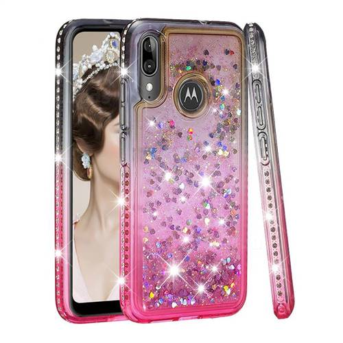 Diamond Frame Liquid Glitter Quicksand Sequins Phone Case for Motorola Moto E6 Plus - Gray Pink