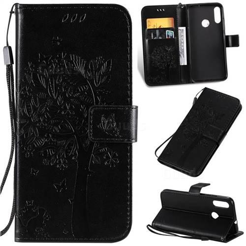 Embossing Butterfly Tree Leather Wallet Case for Motorola Moto E6 Plus - Black