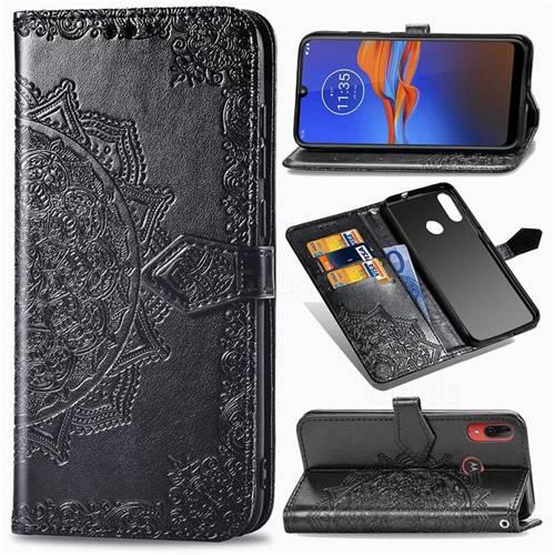 Embossing Imprint Mandala Flower Leather Wallet Case for Motorola Moto E6 Plus - Black