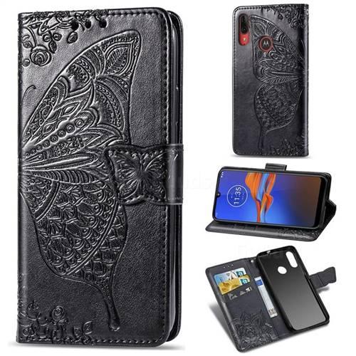 Embossing Mandala Flower Butterfly Leather Wallet Case for Motorola Moto E6 Plus - Black