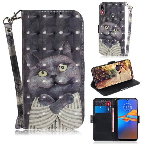 Cat Embrace 3D Painted Leather Wallet Phone Case for Motorola Moto E6 Plus