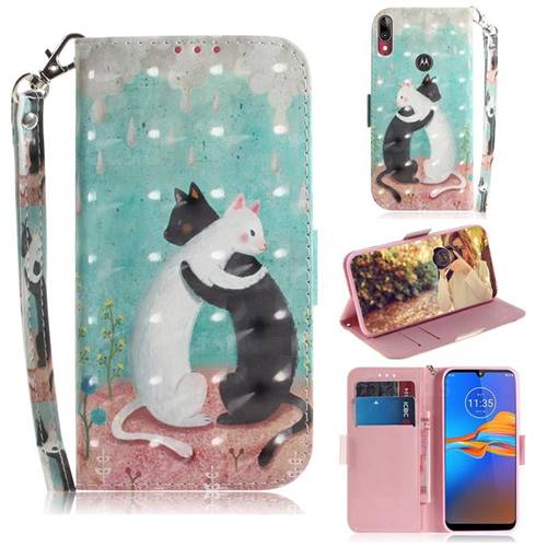 Black and White Cat 3D Painted Leather Wallet Phone Case for Motorola Moto E6 Plus