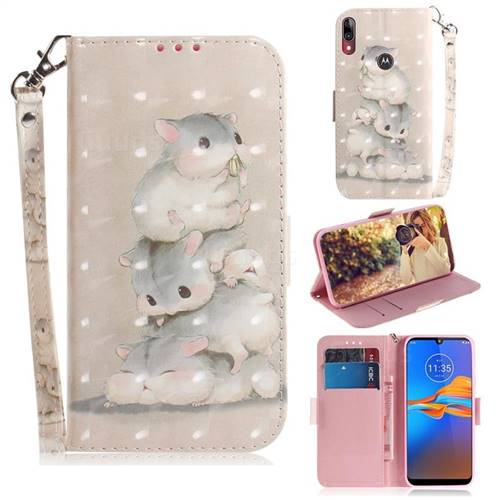 Three Squirrels 3D Painted Leather Wallet Phone Case for Motorola Moto E6 Plus