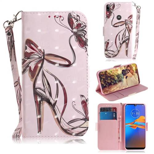 Butterfly High Heels 3D Painted Leather Wallet Phone Case for Motorola Moto E6 Plus