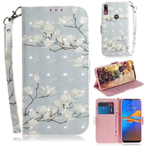 Magnolia Flower 3D Painted Leather Wallet Phone Case for Motorola Moto E6 Plus