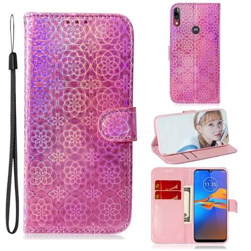Laser Circle Shining Leather Wallet Phone Case for Motorola Moto E6 Plus - Pink