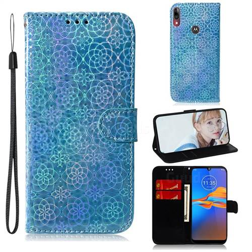 Laser Circle Shining Leather Wallet Phone Case for Motorola Moto E6 Plus - Blue