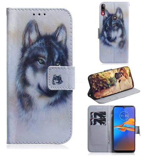 Snow Wolf PU Leather Wallet Case for Motorola Moto E6 Plus