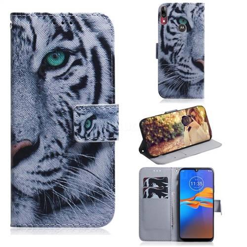 White Tiger PU Leather Wallet Case for Motorola Moto E6 Plus
