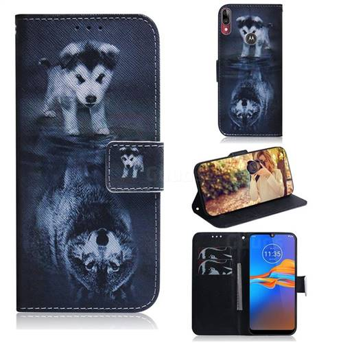 Wolf and Dog PU Leather Wallet Case for Motorola Moto E6 Plus