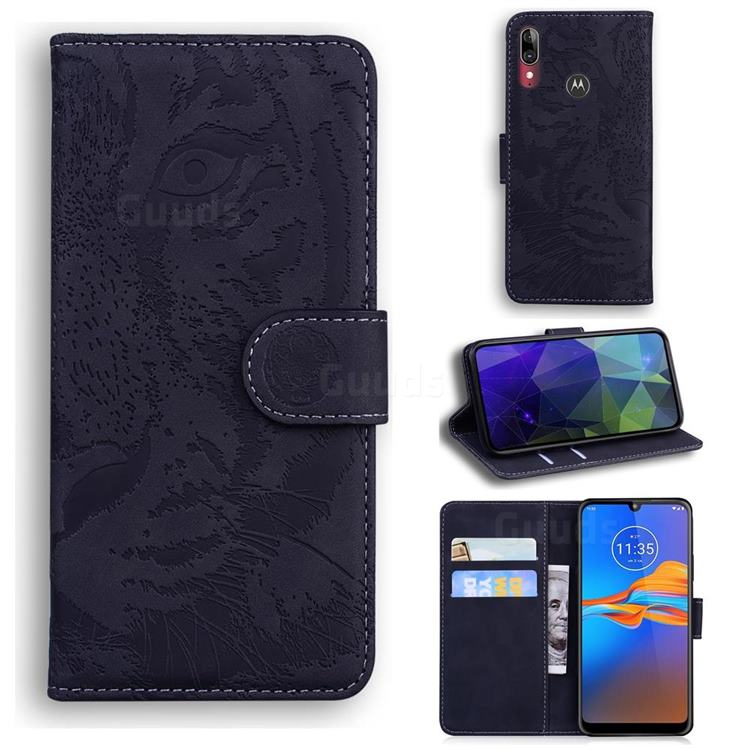 Intricate Embossing Tiger Face Leather Wallet Case for Motorola Moto E6 Plus - Black