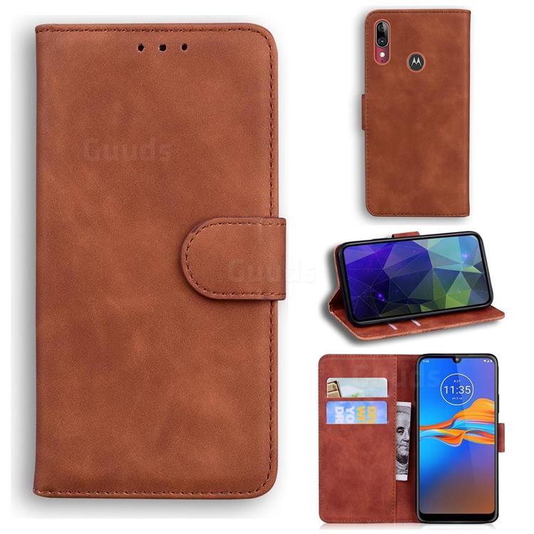 Retro Classic Skin Feel Leather Wallet Phone Case for Motorola Moto E6 Plus - Brown