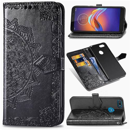 Embossing Imprint Mandala Flower Leather Wallet Case for Motorola Moto E6 Play - Black