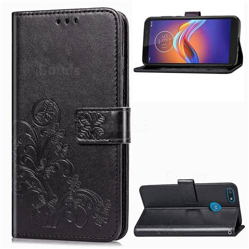 Embossing Imprint Four-Leaf Clover Leather Wallet Case for Motorola Moto E6 Play - Black