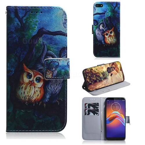 Oil Painting Owl PU Leather Wallet Case for Motorola Moto E6 Play