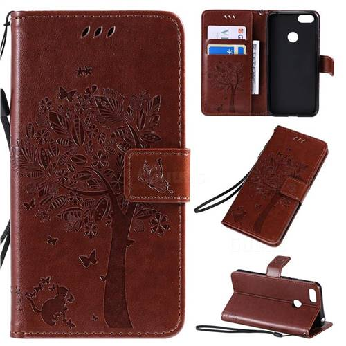 Embossing Butterfly Tree Leather Wallet Case for Motorola Moto E6 Play - Coffee