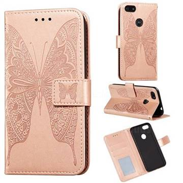 Intricate Embossing Vivid Butterfly Leather Wallet Case for Motorola Moto E6 Play - Rose Gold