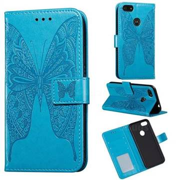 Intricate Embossing Vivid Butterfly Leather Wallet Case for Motorola Moto E6 Play - Blue