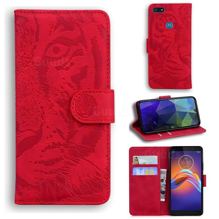 Intricate Embossing Tiger Face Leather Wallet Case for Motorola Moto E6 Play - Red