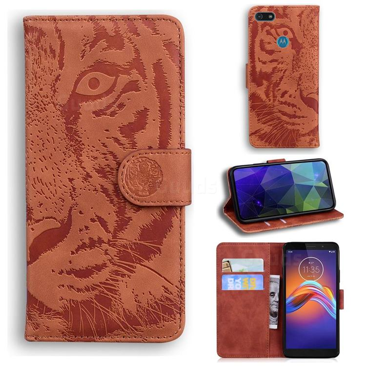 Intricate Embossing Tiger Face Leather Wallet Case for Motorola Moto E6 Play - Brown