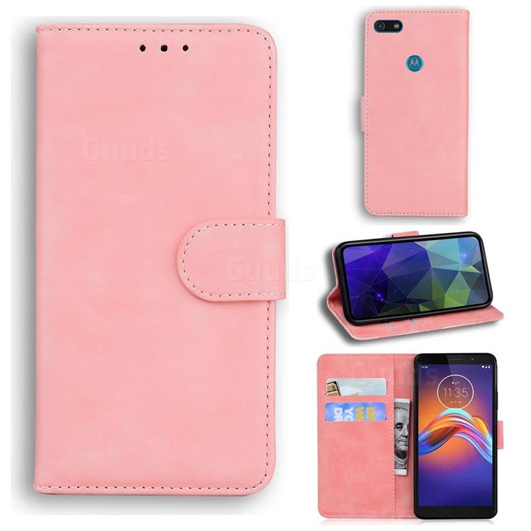 Retro Classic Skin Feel Leather Wallet Phone Case for Motorola Moto E6 Play - Pink