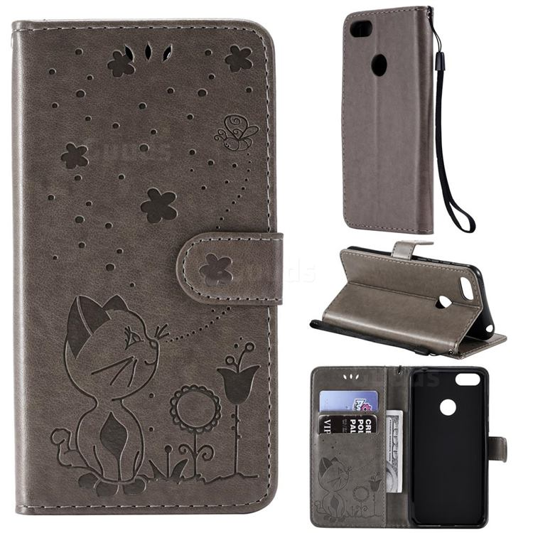 Embossing Bee and Cat Leather Wallet Case for Motorola Moto E6 Play - Gray