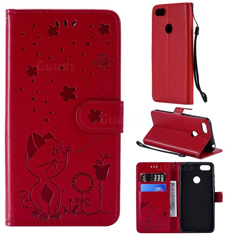 Embossing Bee and Cat Leather Wallet Case for Motorola Moto E6 Play - Red