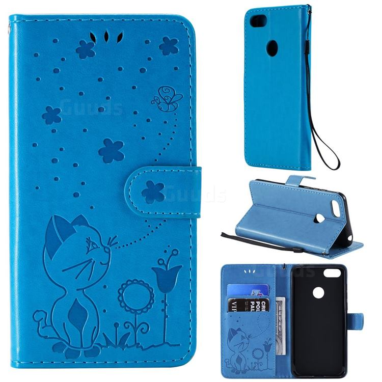 Embossing Bee and Cat Leather Wallet Case for Motorola Moto E6 Play - Blue