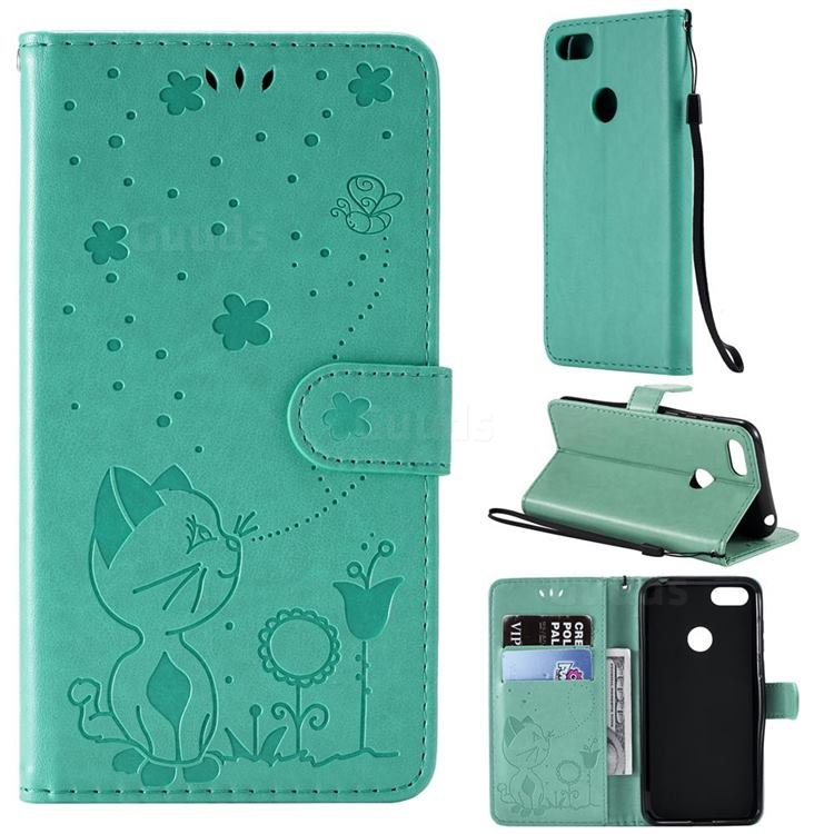 Embossing Bee and Cat Leather Wallet Case for Motorola Moto E6 Play - Green