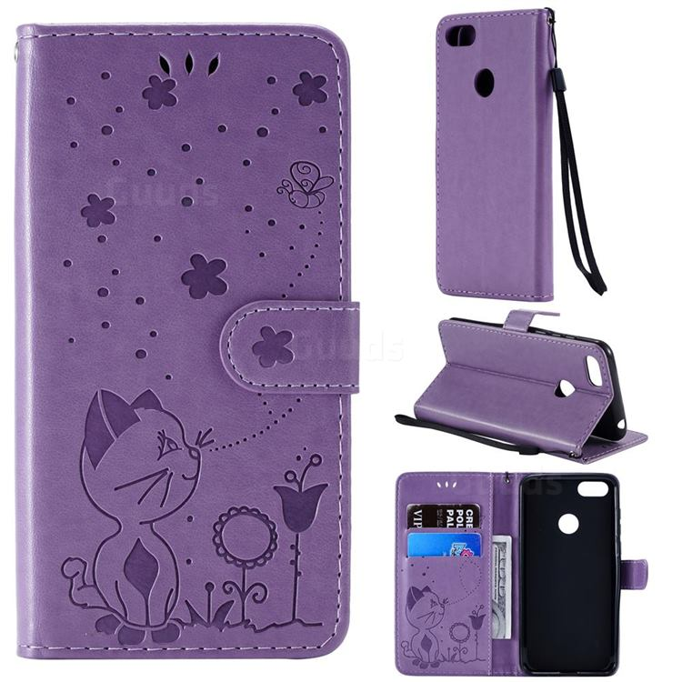 Embossing Bee and Cat Leather Wallet Case for Motorola Moto E6 Play - Purple