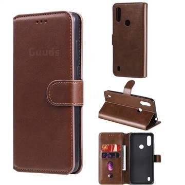 Retro Calf Matte Leather Wallet Phone Case for Motorola Moto E6s (2020) - Brown