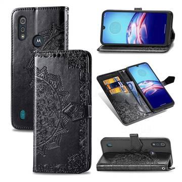 Embossing Imprint Mandala Flower Leather Wallet Case for Motorola Moto E6s (2020) - Black