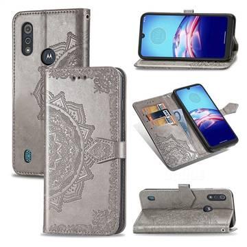 Embossing Imprint Mandala Flower Leather Wallet Case for Motorola Moto E6s (2020) - Gray