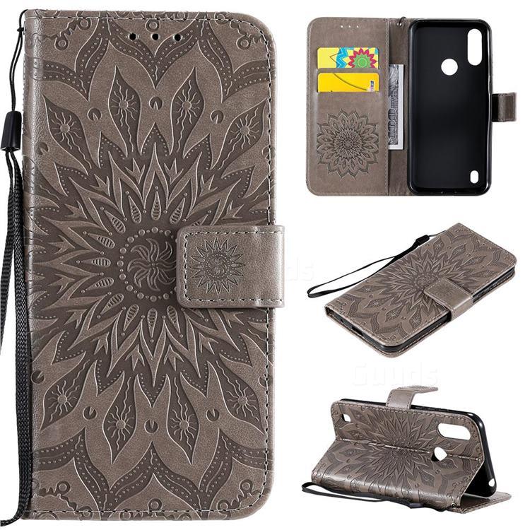 Embossing Sunflower Leather Wallet Case for Motorola Moto E6s (2020) - Gray