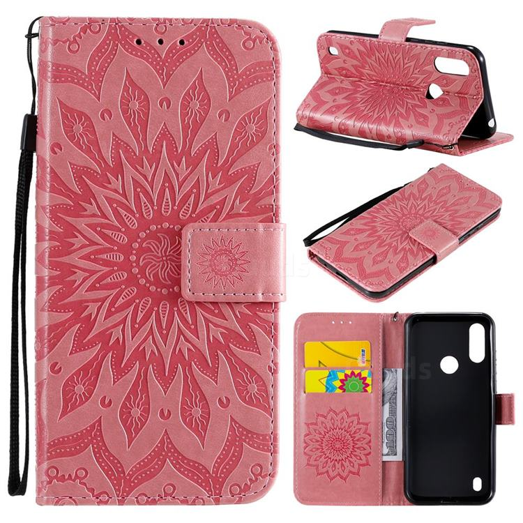Embossing Sunflower Leather Wallet Case for Motorola Moto E6s (2020) - Pink