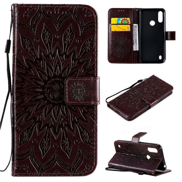 Embossing Sunflower Leather Wallet Case for Motorola Moto E6s (2020) - Brown