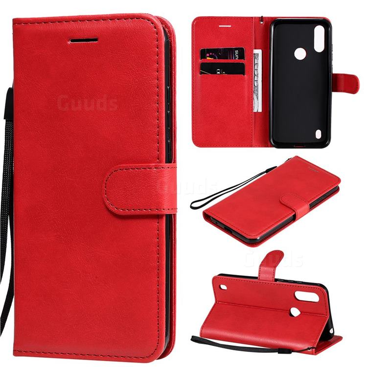 Retro Greek Classic Smooth PU Leather Wallet Phone Case for Motorola Moto E6s (2020) - Red
