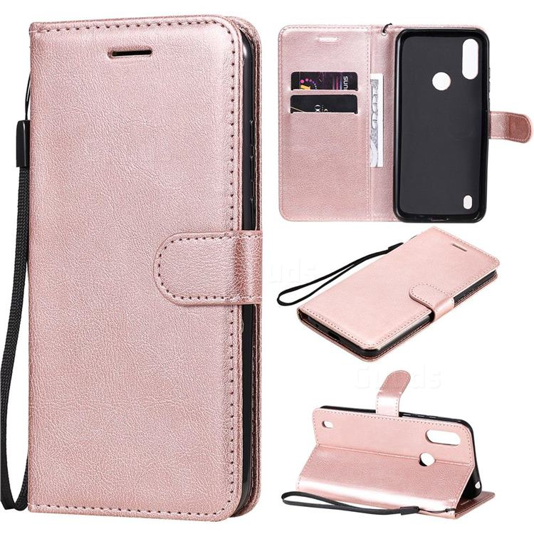 Retro Greek Classic Smooth PU Leather Wallet Phone Case for Motorola Moto E6s (2020) - Rose Gold