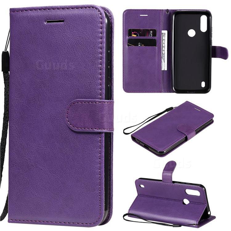 Retro Greek Classic Smooth PU Leather Wallet Phone Case for Motorola Moto E6s (2020) - Purple